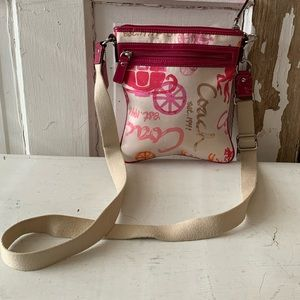 Coach cloth bag with pink patent trim crossbody